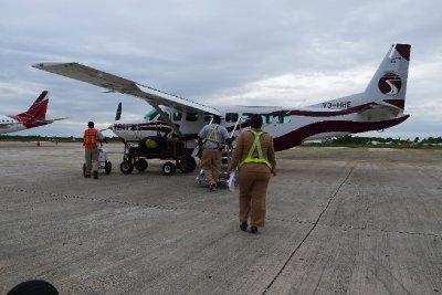 Småflyet vi tok fra fastlandet til San Pedro