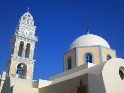 Iconic buildings and colors of Santorini