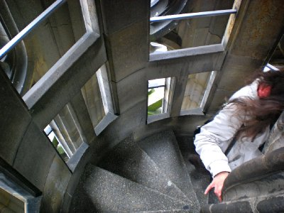 Going down in the narrow stairway of the Cathedral tower