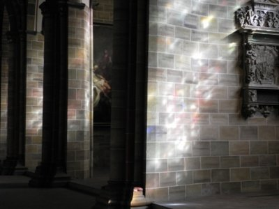 Light plays inside the cathedral of St.Petri