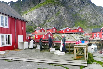 Preparing the fish stock in A, Lofoten