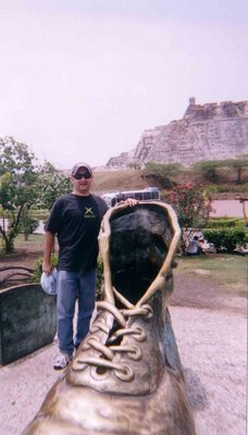 Jake at The Old Shoes Monument, Cartagena Colombia