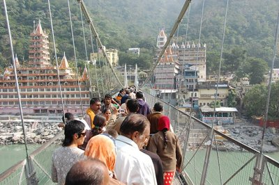 Navigating our way through a very congested pedestrian bridge in Laxman Jhulla, Rishikesh
