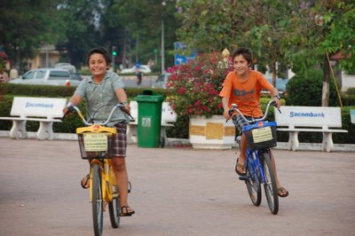 Exploring Vientiane on bicycle