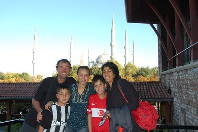 Happy family with the Blue Mosque in the background