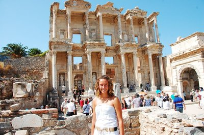 Solstice standing before the stunning Celsus library in Ephesus