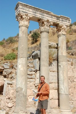 From one mythological hero to the next, Mike enjoying the ruins of Ephesus.