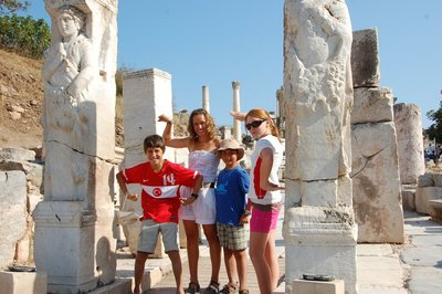 The kids at the Gate of Hercules in Ephesus