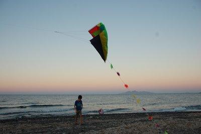 Flying our kite in Santorini