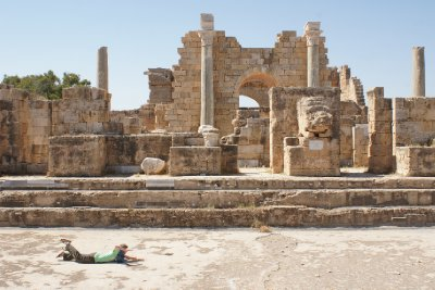 Swimming in the Hadrianic Baths, Leptis Magna, Libya