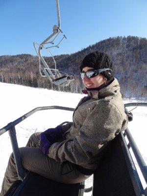 Fiona sur le télésiège de Listvyanka