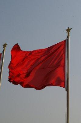 Drapeau sur la place Tiananmen