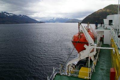 Ferry Evangelista dans les Fjords Chiliens