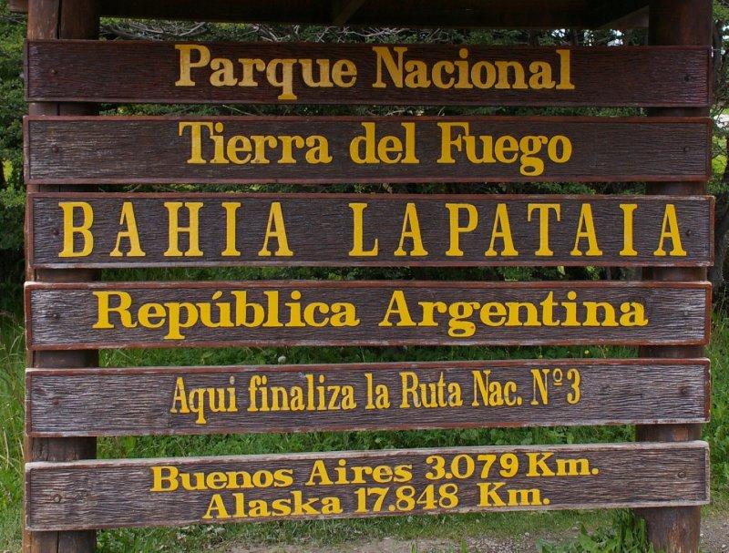 Baie de Lapataia, fin de la route Pan-américaine qui va jusqu'en Alaska