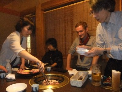 The lovely meal out our Labo host family treated us to, with Sam sporting our gift from them, a traditional furoshiki scarf