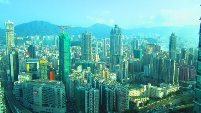 A view of Kowloon from my sweet little room.  This used to be the most densely populated area in the world.