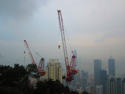 Up in the clouds with skyscrapper cranes
