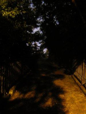 Dark trail on the peak