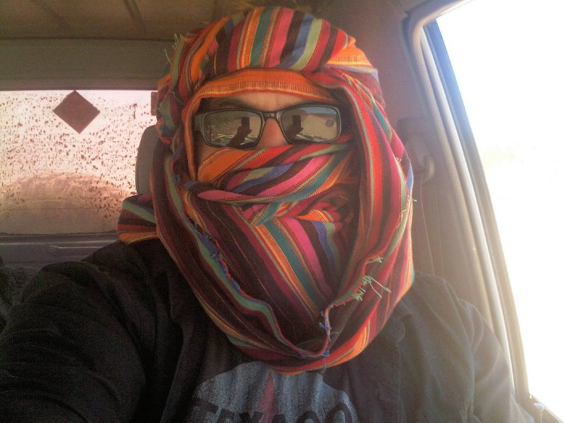 I once fashioned a tauareg style Moroccan turban while traveling through a very dusty section of KOFA