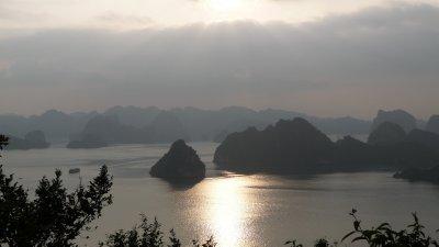 Sun setting over Halong Bay