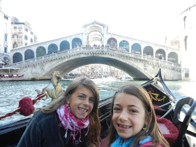 Venice - Our gondola ride, view of the Rialto Bridge