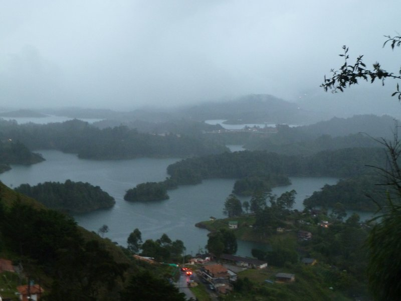 View from El Penol in the rain