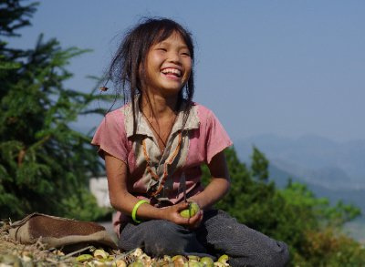 A girl clearly finds us funny, near Yen Minh, NE Vietnam
