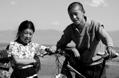 Local Kyrgyz children with my bicycle