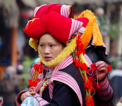 This Red Dzao lady was in traditional costume in the market in Sapa