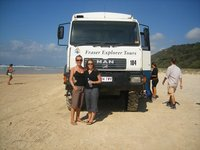 Emma and me on Fraser Island with our bus/truck