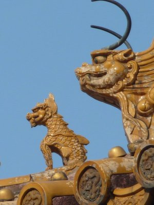 Mythical creature detail on roof