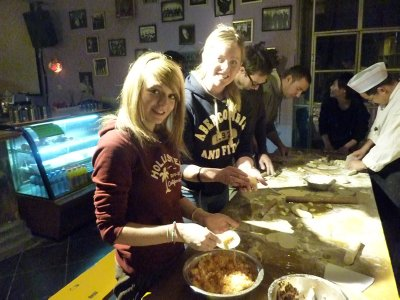 Kate and Ash making dumplings