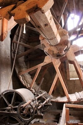 Climbing up the 90m tower in the church with a human size hampster wheel to pulley up supplies