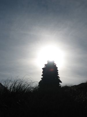 Backlit cairn