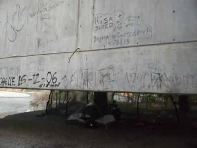 bridge tagged with tent
