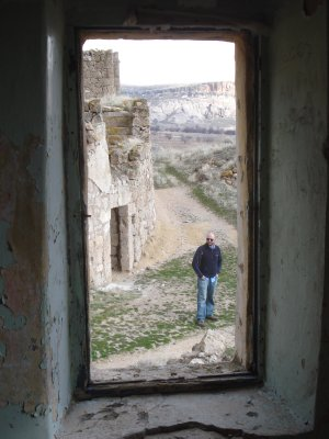 View from inside a structure near the Selime Monastery