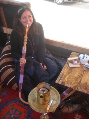 Jennifer with a Shisha at the famous Palatium Cafe, Istanbul