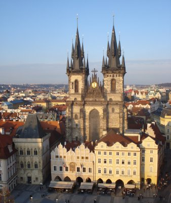 View of Tyn Church at sunset from clock tower, Prague