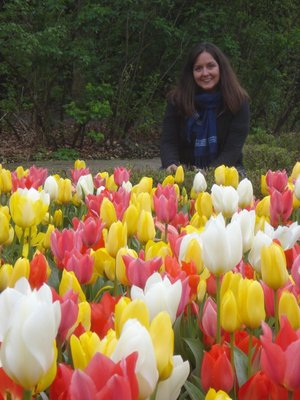 Jennifer with tulips in Vondelpark, Amsterdam