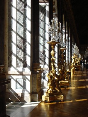 Sun pouring into the Hall of Mirrors at Versailles