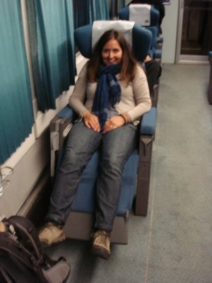 We opted for the cheapest seats possible to Madrid, which turned out to be a pretty comfortable place to sleep.