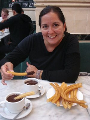 Enjoying chocolate con churros at the Chocolateria San Gines, est. 1894.  This restaurant is open all day, every day, except between 7am and 9am