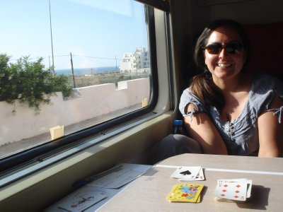 Playing Crazy Eights on the train from Tangier to Fes
