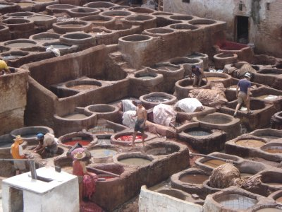 Natural Dye Pits at the tannery