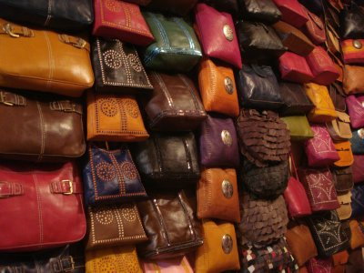 Handbags available for purchase at the tannery.