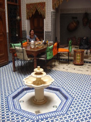 Jennifer eating breakfast at our Riad in Fes