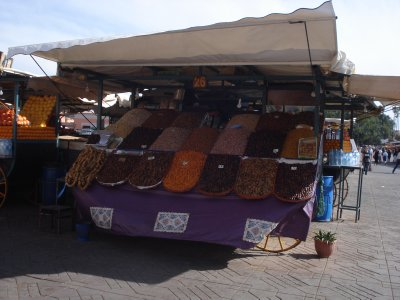 Nuts and dates for sale in the main square in Marrakech