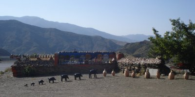Roadside pottery stand in the Atlas Mountains, Morocco