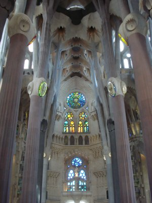 View from inside La Sagrada Familia.  The pillars are meant to resemble trees to evoke the feeling of being in a forest.