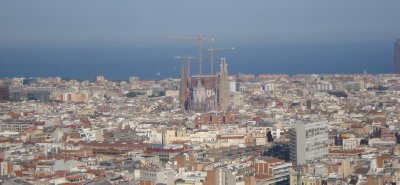 La Sagrada Familia towering above Barcelona and the Mediterranean Sea